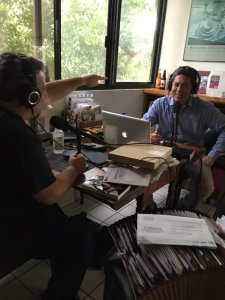 "Journalist Josh Mankiewicz is pictured during a recording of the ""Frank Buckley Interviews"" podcast."
