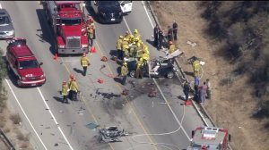 Rescuers responded to the scene of a violent head-on collision on La Tuna Canyon Road in Shadow Hills on Aug. 12, 2016. (Credit: KTLA)