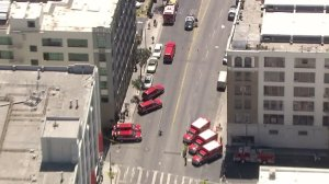 LAFD responds to a report of some 18 people being taken ill in the Skid Row area on Aug. 19, 2016. (Credit: KTLA)