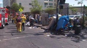 Firefighters respond to a multipatient incident attributed to spice use in Skid Row on Aug. 22, 2016. (Credit: KTLA)