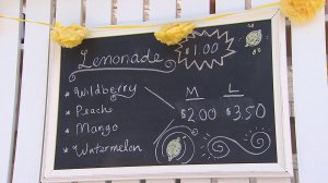 A sign shows the different flavors offered at Anabelle Lockwood's lemonade stand. (Credit: KTLA)