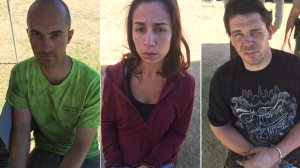 Three people arrested on suspicion of looting are shown in photos released by the San Bernardino County Sheriff's Department on Aug. 18, 2016.