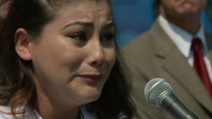 Coral Salvador speaks at a news conference Aug. 25, 2016, on the killing of her son. (Credit: KTLA)