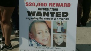A poster is displayed Aug. 25, 2016, at a news conference where authorities asked for help in the July 5, shooting of 4-year-old Salvador Esparza. (Credit: KTLA)