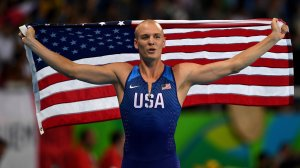 Sam Kendricks of the United States celebrates winning the bronze medal in the Men's Pole Vault Final on Day 10 of the Rio 2016 Olympic Games at the Olympic Stadium in Rio de Janeiro, Brazil. (Credit: Shaun Botterill/Getty Images)