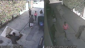 Surveillance images released by the Los Angeles Police Department show five people sought in the theft of a painting in San Pedro on July 7, 2016.