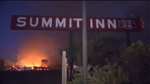 The out-of-control Blue Cut Fire destroyed the landmark Summit Inn Restaurant in Oak Hills on Aug. 16, 2016. (Credit: KTLA)