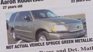 An SUV being sought with a missing couple who kidnapped several children is shown on a flier displayed at an LASD news conference on Aug. 24, 2016. (Credit: KTLA)