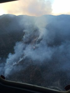 An aerial photo of a 125-acre brush fire burning in the Trabuco Canyon area of the Cleveland National Forest was released by the OCFA on Aug. 21, 2016. (Credit: Orange County Fire Authority.)