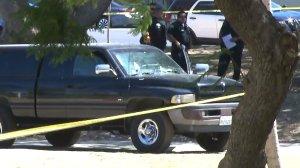 A pickup truck is seen after it struck four men in MacArthur Park Aug. 11, 2016. (Credit: KTLA)