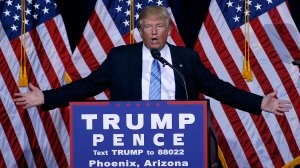 Donald Trump speaks during a campaign rally on August 31, 2016 in Phoenix, Arizona where he laid out his immigration plan. (Credit: Ralph Freso/Getty Images)