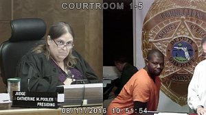 A suspected car thief twerks in front of a Miami judge on Aug. 11, 2016. (Credit: WSVN via CNN)