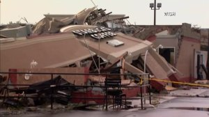 A Starbucks in Kokomo, Indiana, was leveled in a tornado on Aug. 24, 2016. (Credit: WISH via CNN)