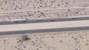 CHP pursue a stolen big rig on the 10 Freeway near Palm Springs on Sept. 13, 2016. (Credit: KTLA)