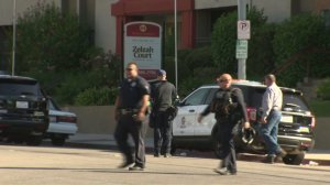 An active police scene at an apartment complex near Cal State Northridge were two people were shot. (Credit: KTLA)
