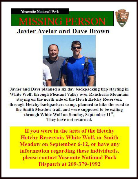 The National Park Service's Investigative Services Branch released this flier on the search for two missing Fullerton firefighters on Sept. 13, 2016.