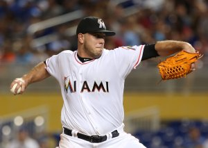 Pitcher Jose Fernandez #16 of the Miami Marlins throws against the Los Angeles Dodgers at Marlin Park on Sept. 9, 2016, in Miami, Florida. (Credit: Marc Serota/Getty Images)