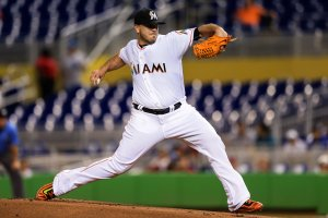 Jose Fernandez of the Miami Marlins pitches during the game against the Washington Nationals at Marlins Park on Sept. 20, 2016, in Miami, Florida. (Credit: Rob Foldy/Getty Images)