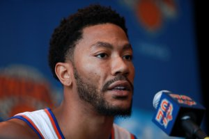 Derrick Rose addresses the media during the New York Knicks Media Day at the Ritz Carlton on Sept. 26, 2016 in White Plains, New York. (Credit: Michael Reaves/Getty Images)