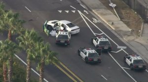 A police chase resulted in a fatal crash in Long Beach on Sept. 20, 2016. (Credit: KTLA)