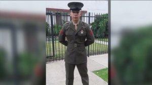 Carlos Segovia is shown in uniform in a family photo.