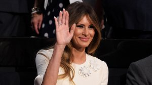 Melania Trump, wife of Republican presidential candidate Donald Trump, waves during the fourth day of the Republican National Convention on July 21, 2016 at the Quicken Loans Arena in Cleveland, Ohio. (Credit: Jeff Swensen/Getty Images)