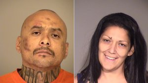 Dean Aguilar, left, and Vanessa Gonzalez, right, are seen in booking photos released by the Ventura County Sheriff's Office on Sept. 7, 2016.