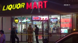 A store clerk was fatally shot during an apparent robbery attempt at a liquor store in North Hollywood on Sept. 23, 2016. (Credit: OnScene TV)