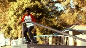 Alex Adrian Ramirez is shown in a video still from a skateboarding video by Savage Boys.