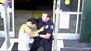 Surveillance video shows the arrest of a man at a CVS store in Murrieta on Sept. 6, 2016.