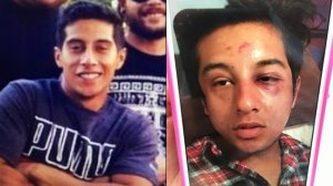 Alejandro Rojo is seen both before (left) and after his arrest in images provided by his family.
