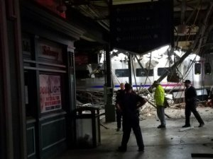 A New Jersey Transit train crashed into a platform in Hoboken during Thursday, September 29, 2016 morning's rush-hour commute. (Credit: @ScotchWoodTy/Twitter via CNN)