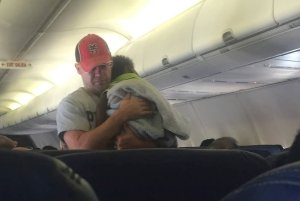 A passenger, who was on a Sept. 5, 2016 flight from Minneapolis to Atlanta, and helped a pregnant mom soothe her crying baby is seen in this Facebook photo.