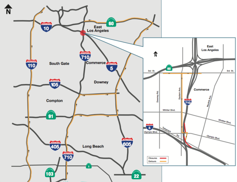 A Caltrans map shows the area affected by northbound 710 Freeway weekend closures in fall 2016.
