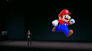 "Nintendo game designer Shigeru Miyamoto shows off ""Super Mario Run"" at an Apple event in San Francisco on Sept. 7, 2016. (Credit: CNN)"
