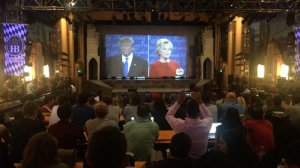 UCLA students and other visitors gathered to watch the first presidential debate at the Crest Theater in Westwood on Sept. 26, 2016. (Credit: Matt Pearce/ Los Angeles Times)
