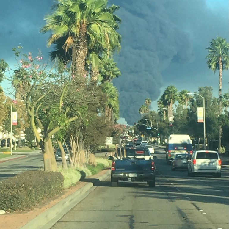 Another KTLA viewer sent in this view from Montclair of a fire burning in Ontario.