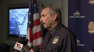 LAPD Chief Charlie Beck speaks Oct. 4, 2016, before showing a video of the moments prior to a police shooting. (Credit: KTLA)