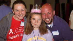 Bethany is shown in a photo provided to CNN by her father. She's seen with her parents, Wendy Feucht and Paul Thompson, at the Relay for Life.