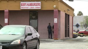 LAPD responds to a shooting at Bob's Hamburgers in Harbor City on Oct. 12, 2016. (Credit: KTLA)