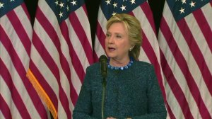 Hillary Clinton addresses reporters about the FBI looking into newly discovered emails on Oct. 28, 2016. (Credit: CNN)