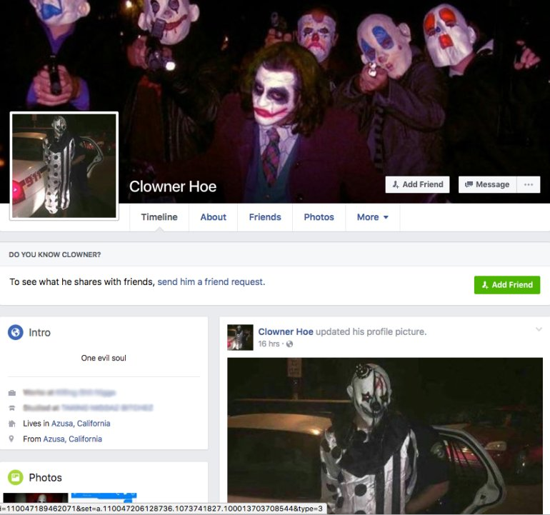 William Salazar's alleged clown Facebook profile is shown on Oct. 5, 2016.