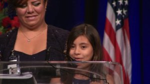 "Vanessa Vega, 8, speaks at a memorial service for her father, Palm Springs Jose ""Gil"" Vega, on Oct. 18, 2016. (Credit: pool)"
