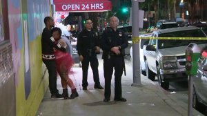 A man was killed when a deadly fight broke out in Hollywood on Oct. 30, 2016. (Credit: KTLA)