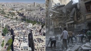 A screenshot of the Syrian Ministry of Tourism video posted to Facebook Sept. 29, 2016, is shown left, and Syrian civilians and rescuers at site of government forces air strikes in a rebel-held area of Aleppo on Sept. 27, 2016, right.
