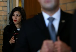 Huma Abedin, aide to democratic presidential candidate former Secretary of State Hillary Clinton, looks on during a canvas kickoff event at the YWCA of Manchester on Feb. 5, 2016. (Credit: Justin Sullivan/Getty Images)