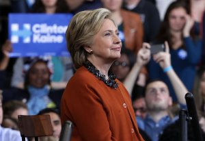Democratic presidential candidate Hillary Clinton listens during a campaign event at the Lawrence Joel Veterans Memorial Coliseum October 27, 2016 in Winston-Salem, North Carolina. (Credit: Alex Wong/Getty Images)