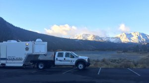 A vehicle from the Mono County Sheriff's Department is shown at June Lake in a photo posted to the agency's Facebook page on Oct. 17, 2016.