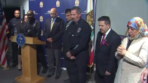 LAPD and Islamic Center officials appear at a news conference on Oct. 25, 2016. (Credit: KTLA)