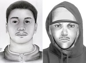 The suspect is shown in two composite drawings released by the Moreno Valley Police on Oct. 18, 2016.